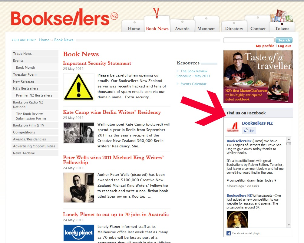 The Facebook 'like box' inside the Bookselelrs website