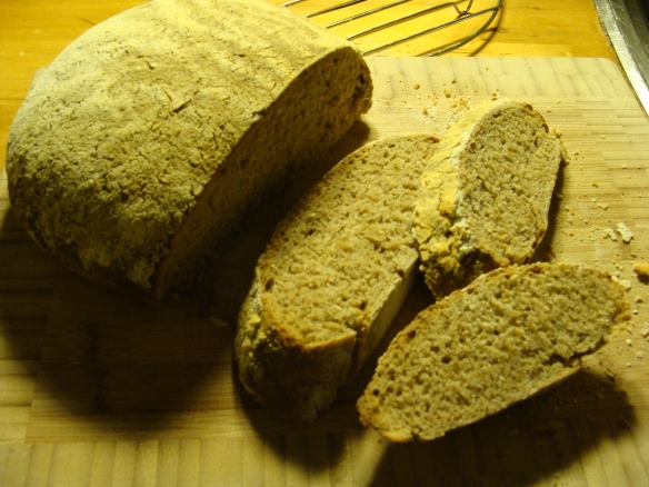 Inside first sourdough loaf