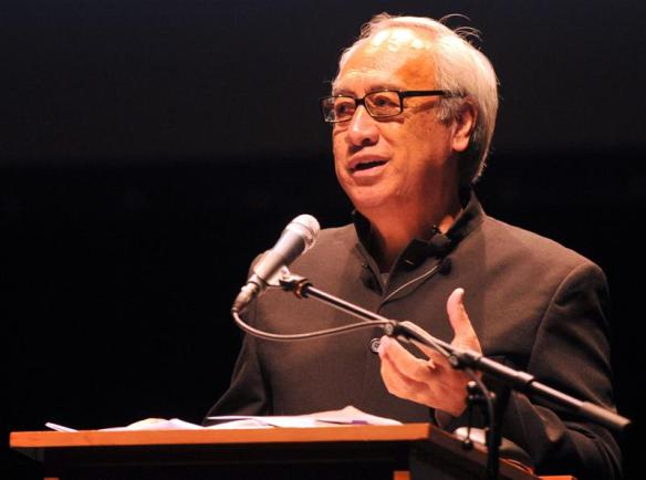 Witi Ihimaera speaks at the Dunedin Writers festival. Photo by Gregor Richardon, copyright ODT