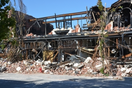 Remains of the McKenzie Willis building, on High Street, Christchurch after the quakes.